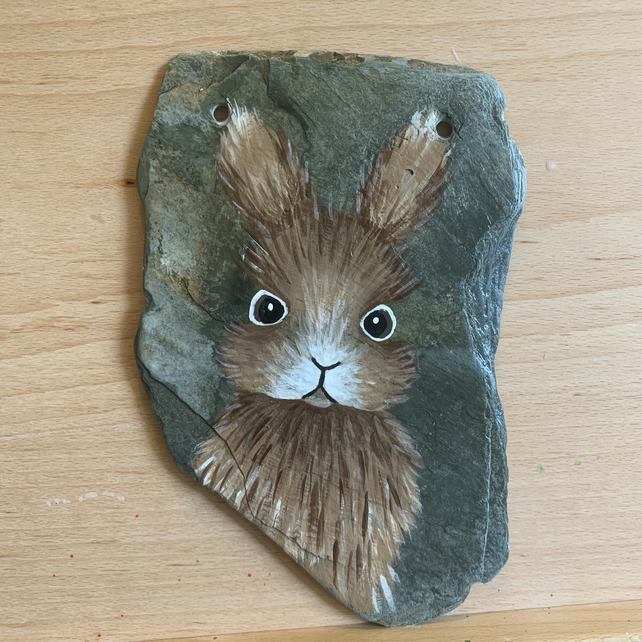 Hare on slate,  Hand painted original