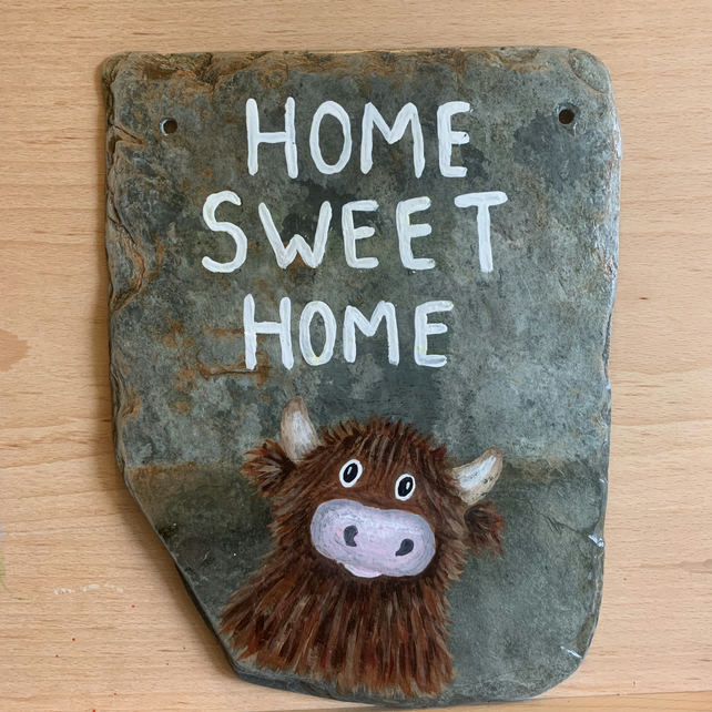 Home Sweet Home Cow on slate,  Hand painted original