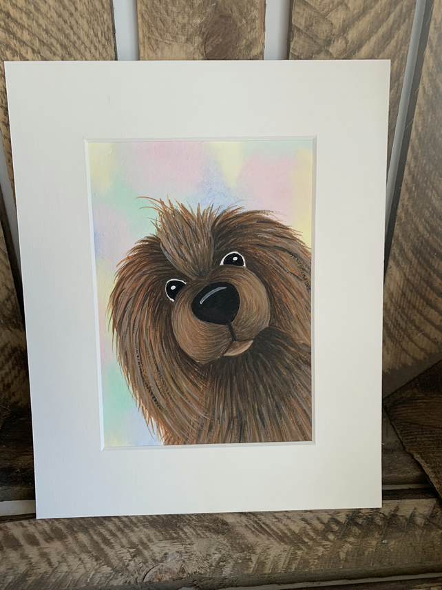 Frank the Dog. Original mounted painting