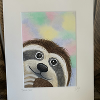 Sid the Sloth. Original mounted painting