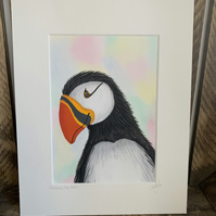 Ambrose the Puffin. Original mounted painting