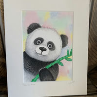 Peter the panda. Original mounted painting
