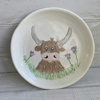 Handmade porcelain Highland cow plate, kids, side, pasta