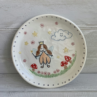 Handmade porcelain children's fairy plate