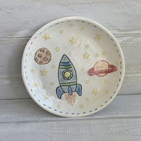 Handmade porcelain children's space rocket plate