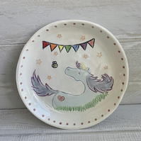Handmade porcelain children's unicorn plate