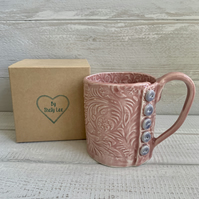Handmade porcelain mug, plum mug with button detail.