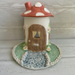 Ceramic porcelain fairy toadstool  house light, lamp, pixies palace