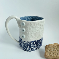 NEW Handmade porcelain mug, double textured with button detail.