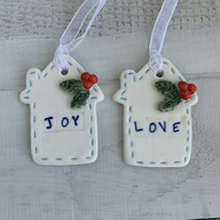 SALE Porcelain hanging House decorations. Christmas.