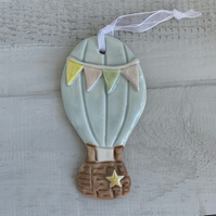 SALE Porcelain hanging hot air balloon decoration. Christmas.