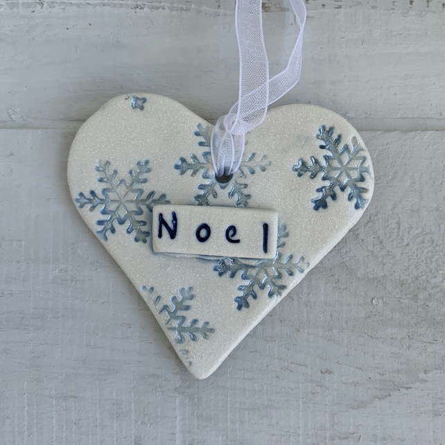 SALE Porcelain hanging Christmas Heart with snowflake and lustre detail. NOEL
