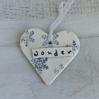 SALE Porcelain hanging Christmas heart with snowflake and lustre detail. WONDER
