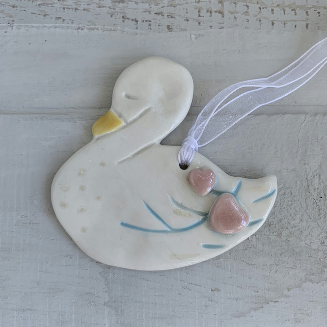 SALE Porcelain hanging swan decoration. Christmas.