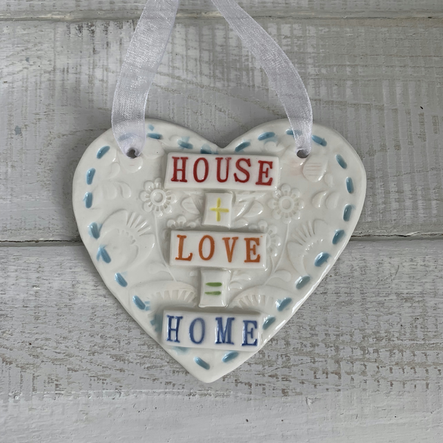 House, Love, Home. Porcelain hanging heart
