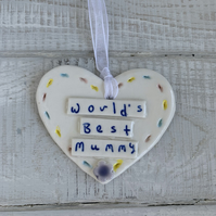 SALE Porcelain heart, Worlds Best Mummy,  Mother's Day