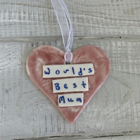 SALE Porcelain heart, Worlds Best Mum, Mother's Day