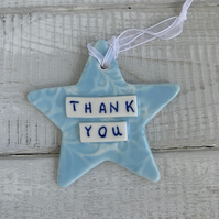 Ceramic, porcelain Star, Thank You, end of term teacher gift.