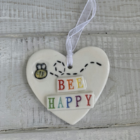 Porcelain heart,  motivational quote, Be Happy