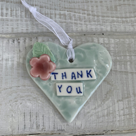 Ceramic, porcelain Heart, Thank You, end of term teacher gift.