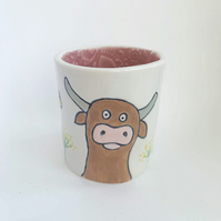 Handmade porcelain mug, cup,pot, cow and bee