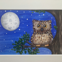 Merlin the Wise. Owl. Original framed painting
