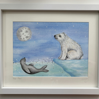 Polar Moon. Original framed painting