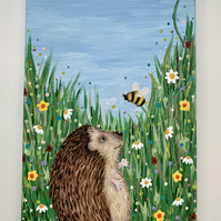 Hello Bee. Hedgehog and bee meadow. Original painting on canvas