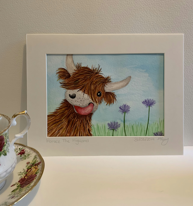 Horace The Highland cow. Original mounted watercolour painting