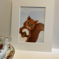 Stalky the Squirrel. Original mounted painting