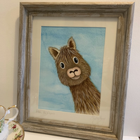 Alan the Alpaca. Original mounted and framed painting