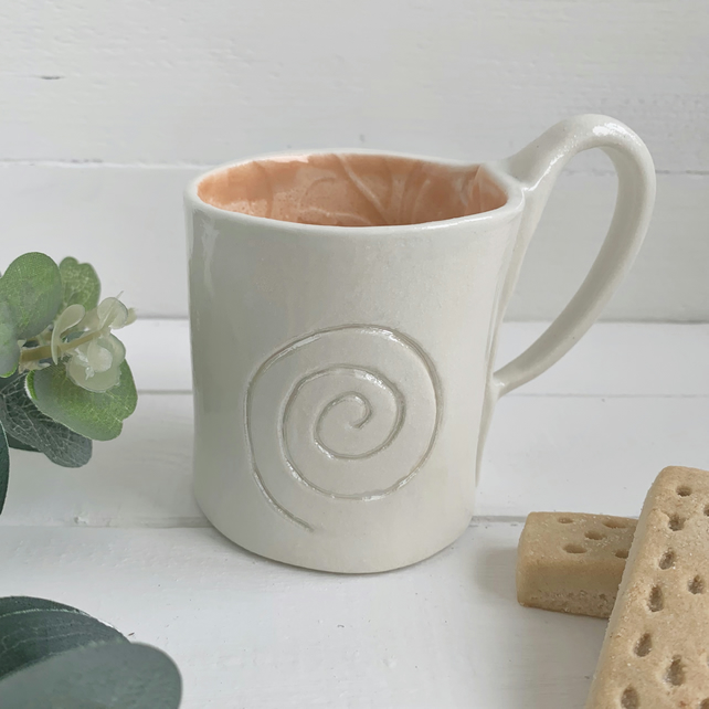 Handmade porcelain button mug seconds