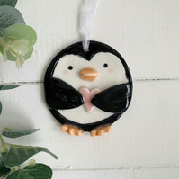 Porcelain Christmas Penguin decoration.