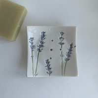 Beautiful handmade lavender porcelain soap dish