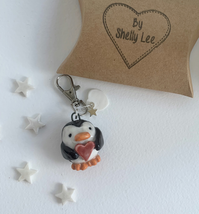 NEW penguin bag charm-keyring. Porcelain Mother's Day