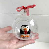 Porcelain Christmas Penguin glass bauble decoration