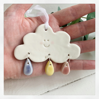 Porcelain Cloud decoration. Raindrops, Christmas