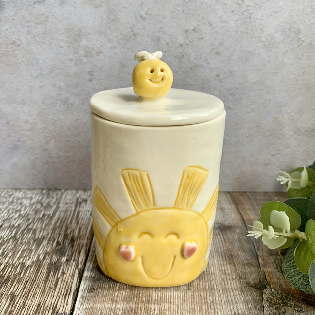 Handmade pottery sunshine jar