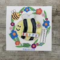 Handmade porcelain Bee Happy magnet