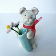Handmade pottery Bear with mini vase
