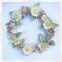 OFFER Beautiful handmade porcelain flower wreath. Daisy