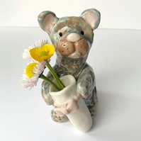 Handmade pottery Cat with mini vase