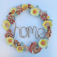 Beautiful handmade porcelain flower wreath. Home, robin, sunflowers