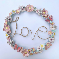 Beautiful handmade porcelain flower wreath. Love