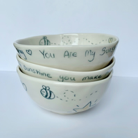 Handmade porcelain bowls, set of three