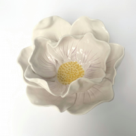 OFFER, set of two Porcelain peony flower dish. House warming, wedding.