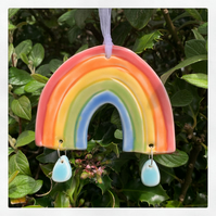 Porcelain Rainbow decoration. Raindrops