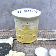 Handmade porcelain my sunshine oil, melt burner, tea light, candle holder