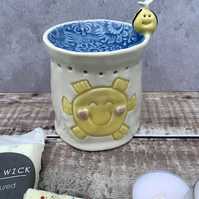 Handmade porcelain sunshine bee oil, melt burner, tea light, candle holder