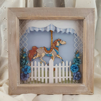 6x6 Inch 3D Carousel Horse Box Frame Shadowbox in Blue
